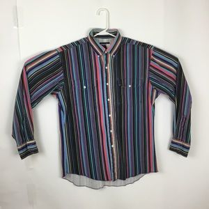 Wrangler vtg cowboy cut striped shirt  cotton